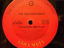"THE WEATHER GIRLS It's Raining Men with Instrumental 12"" Vinyl Single VG+"
