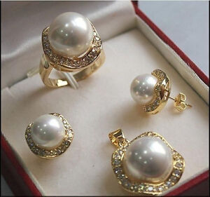 1Set AAA 10mm &14mm White South sea Shell Pearl Earrings Necklace Ring Set A01