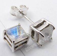 Zero Shipping .925 Silver RAINBOW MOONSTONE 4-Prong Stud Post Earrings 0.5 CM