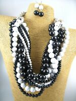 Chunky White Black Ball Beads Fashion Necklace Earrings Costume Women Jewelry