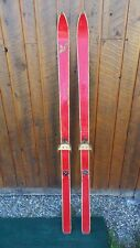 """Vintage Wooden 66"""" Long Skis with Bindings Wiht Old Original Red Finish"""