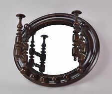Antique Victorian Oval Mirror with Hat Rack circa 1900