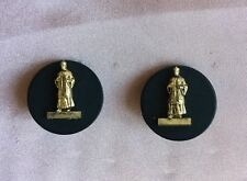 Pierre Bex Ferraggioli Gold-Plate On Copper/Black Ear Clips With Oriental Man