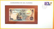 Malta 1979 - 1 Lira - Uncirculated Banknote enclosed in stamped envelope