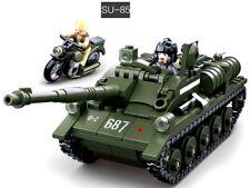 WW2 SU-85 Tank & motorbike c/w Figures Construction Building Blocks Kit 338 Pcs