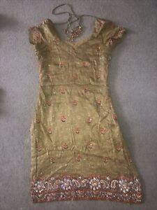 Orange & Gold Silk Salwar Kameez - Size 10-12 - Full Embroidery
