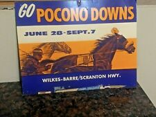 Vintage POCONO DOWNS Harness Racing Horse Racing Cardboard Sign Wilkes Barre PA