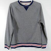 Le Tigre Sweatshirt Shirt Large Grey Blue White Stripes Crew Neck