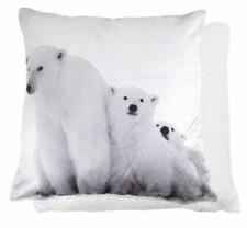 Riva Home Sherpa Polar Bears Photograph Velvet Cushion Cover Multi 50 X 50 Cm