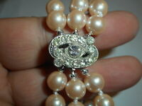 3 Strand Cream 8mm Majorca Faux Pearl BRACELET Rhinestone Art Deco Japan Clasp