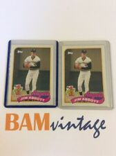 Jim Abbott RC 1989 Topps Rookie 2 Baseball Card LOT Angels MLB