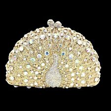 Gold Clear Peacock AB Rhinestone Crystal Clutch Bridal Prom Formal Purse