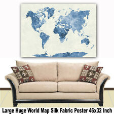 """Poster World Map Large Huge Giant Wall Print Silk Fabric Decor 46""""x32"""" Inch T05"""