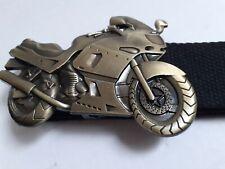 "MOTORBIKE CYCLE Metal Unisex 3D Buckle 9x7cm with Black Canvas Belt 43"" BNWT"