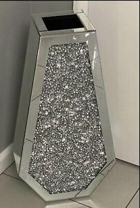 Silver Bling 40cm Diamond Crushed Crystal Mirrored Floor Vase