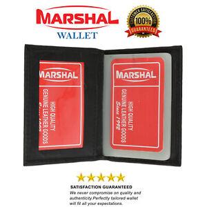 Black Credit Card Window ID Genuine Leather Holder Wallet Clear Sleeves Men's