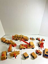 Vintage Mattel Pre School  Lot of 23 Pieces Wooden Toy Vehicles  From 71,72,73