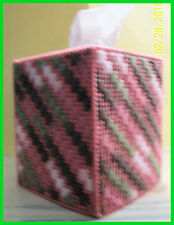 PINK GREEN ROSE HANDMADE PLASTIC CANVAS TISSUE BOX COVER TOPPER