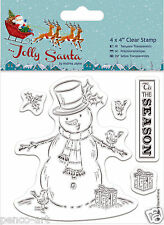Docrafts Papermania Jolly Santa SNOWMAN Christmas clear rubber stamp set of 5
