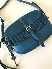 Fossil Marine Blue Leather Suede Kendall Crossbody Shoulder Bag ZB7148433 NWT