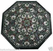 2' Green Marble Coffee Table Top Mother Of Pearl Rare Inlay Decor Furniture H328