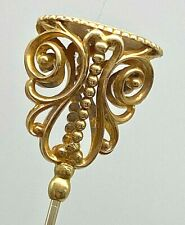 Antique Signet Hatpin Golden Art Deco Butterfly Getting Ready to Glide Away