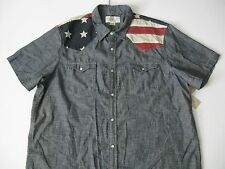 Denim & Supply Ralph Lauren Men's Dark Blue Chambray Flag-yoke Western Shirt M