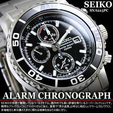 SEIKO MENS CHRONOGRAPH QUARTZ WATCH TACHYMETER 100M SNA225 SNA225P1 BLACK w/ BOX