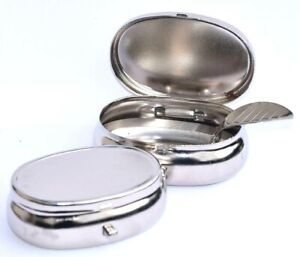 Portable Pocket Ashtray Oval Metal Cigarette Stubbs NEW