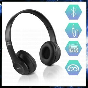 CUFFIE BLUETOOTH WIRELESS SENZA FILI OVER EAR SPORT GAMING PS4 XBOX PC TV NERO