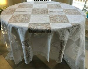 White on White Cotton Embroidered Floral/Lace Banquet Cloth & 12 Napkins