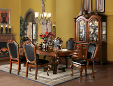 Old World Cherry Brown Finish Dining Room Furniture 7pcs Table & Chairs Set IAC9