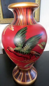 Red Chinese Urn Vase Bird & Grapes - Foliage  Hand Painted Decor