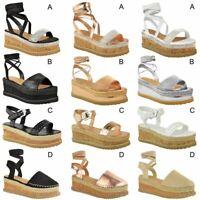 New Womens Ladies Flatform Cord Wedge Diamante Lace Tie Up Sandals Size UK