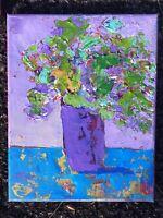 ABUNDANT GREEN Original Abstract Still Life Knife Painting TEXTURE 8x10 Flowers