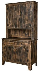 Amish Rustic Kitchen Hutch Cabinet Pallet Furniture Aged Distressed Solid Wood