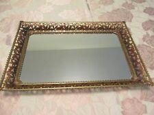 "Vanity Tray Gilt Brass 16x11"" Filigree Mirror Vintage Art Deco Scroll & Scallop"