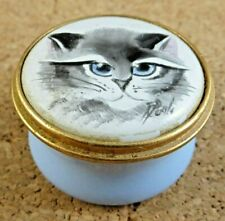 Kingsley Enamels Worcestershire England Trinket Box Siamese Cat Face Blue Signed