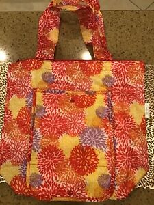 Sachi Insulated Market Tote Bag Carry Out Meals Market Shopping Red/Yellow NIB
