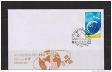 O) 2015, Satellite, World Map, Telecommunications, 150 Anniversary Of Uit, Fdc