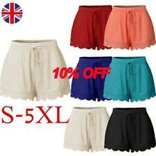 Women Lace Hem Elastic Waist Drawstring Summer Shorts Ladies Hot Pants Plus Size