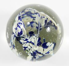 """Vintage PAPERWEIGHT Studio Art Glass White & Blue Designs with Bubbles 2.75"""""""