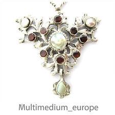 Jugendstil Silber Anhänger Granat Perlmutt silver pendant garnet mother of pearl
