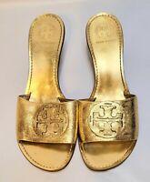 Tory Burch Gold Metallic Leather Slip On Kitten Heels  in Women's Sz 11 Medium.