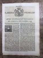 Rare Bataille de Hochkirch 1758 Guerre de Sept Ans Gazette d'Utrecht