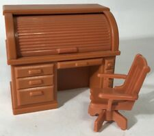 Vintage FP Toys Doll House Secretary Roll Top Desk  Office Chair Fisher Price