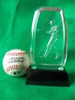 CLEAR ACRYLIC   BASEBALL TROPHY - MALE BATTER  PERSONALIZED