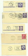 USA postage stamps with postmarks x 5, used, circa 1956 to 1961