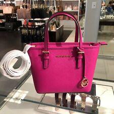 Michael Kors Women XS Tote Leather Crossbody Bag Handbag Purse Fuschia PInk