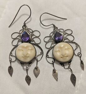 """Carved Moon Faces Silver Amethyst Celestial Earrings 2.5"""" Goddess Queen Dangle"""